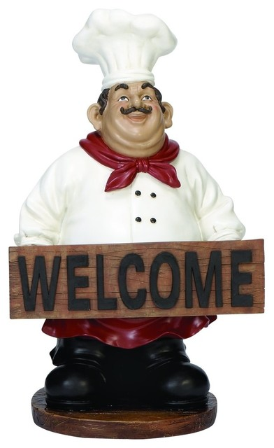 """welcome"" Chef Statue."