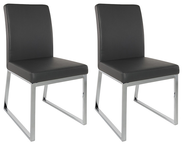 UrbanMod Lexington Parsons Chair Faux Leather Chrome Legs, Set Of 2, Black