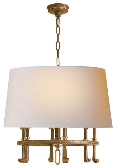 Thomas O&x27;brien Calliope 6-Light Hanging Shade, Hand-Rubbed Antique Brass.