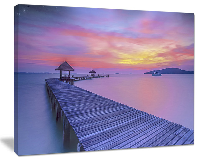 Long Wooden Bridge Into The Sunset Sea Pier Wall Art Canvas Print Beach Style Prints And Posters By Design Art Usa