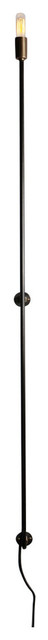 """Stick Wall Sconce With Plug, Black, 50"""""""