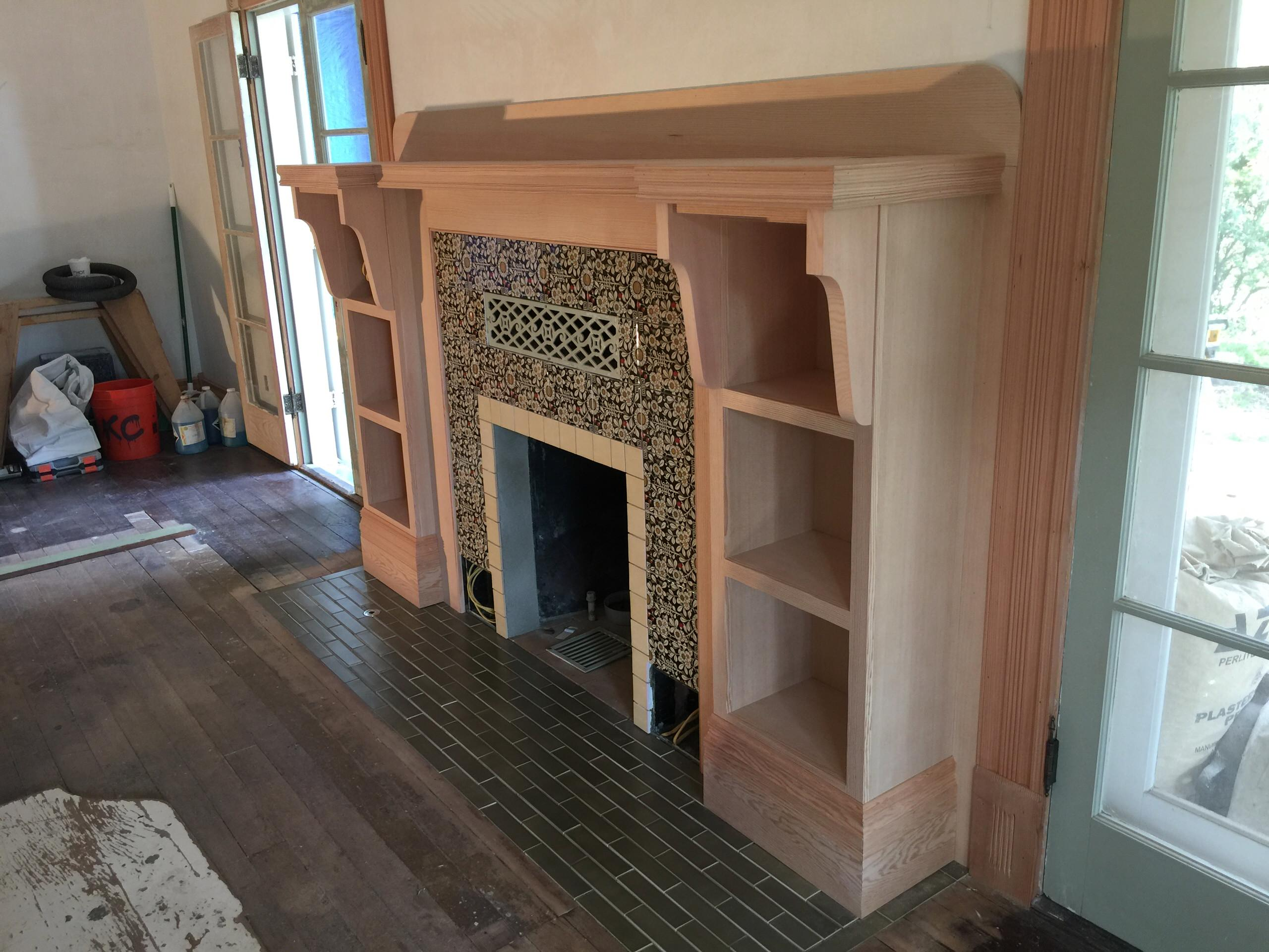 Sierra Madre Historic Farmhouse Resotration - Firplace Mantle