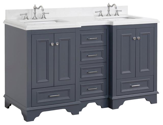 "Nantucket 60"" Bath Vanity, Base: Charcoal Gray, Top: Quartz, Double Vanity"