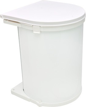 Trash Can Side Mounted 32 Quart Pivot Out Steel White