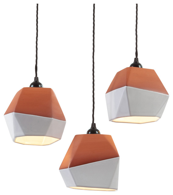 Geometric Terracotta Pendant Lampshades Small Set Of 3