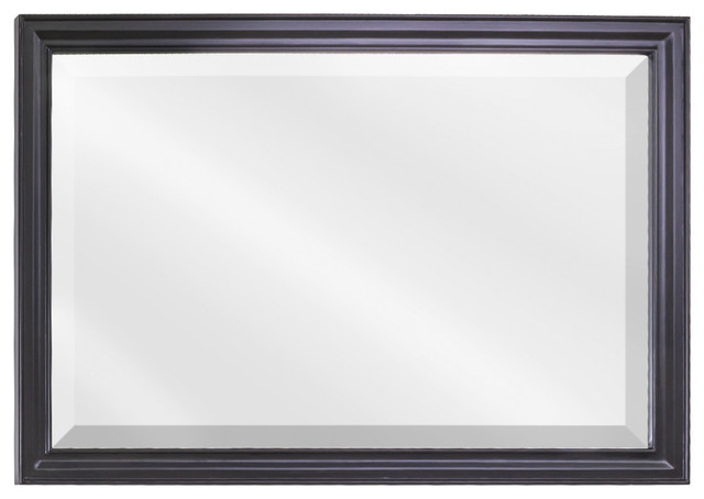 Black mirror with beveled glass traditional bathroom mirrors other by renaissance for Beveled glass bathroom mirror