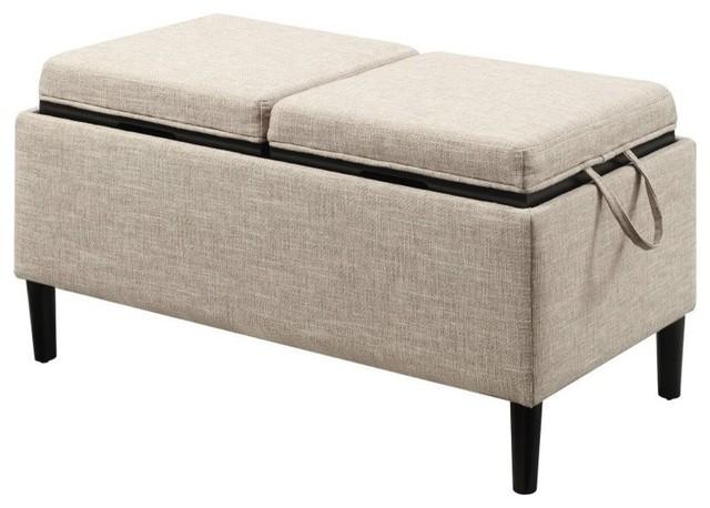 Designs4comfort Magnolia Fabric Storage Ottoman With Trays