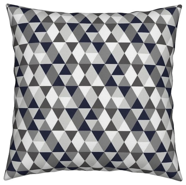 Geometric Grey Navy Blue Triangles Throw Pillow Scandinavian Decorative Pillows By Roostery