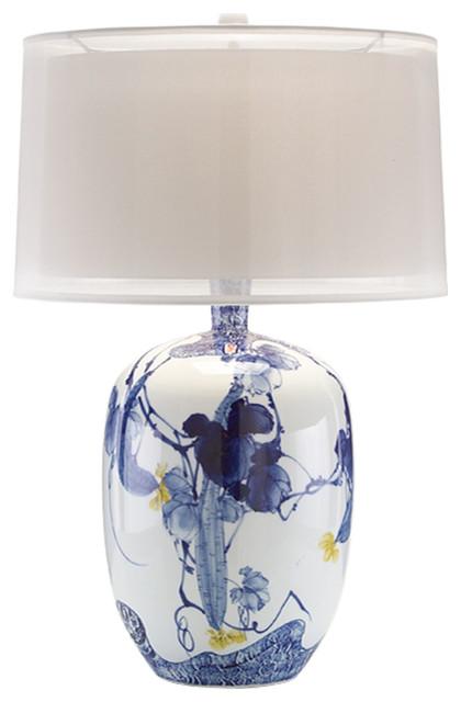 John Richard Blue Asian Gardens Table Lamp JRL 8854 Transitional Table Lamps