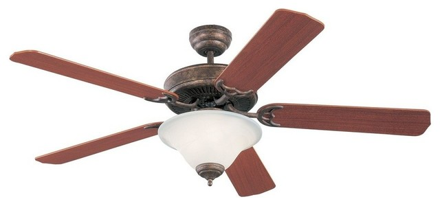 Homeowner&x27;s Deluxe 52 Ceiling Fan Tuscan Bronze Mahogany Blade White.