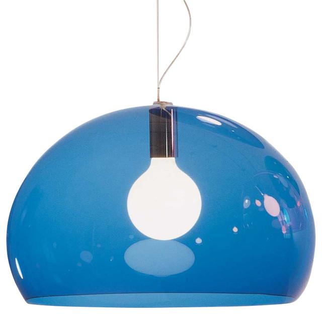 Kartell Fl/y Suspension Lamp, Transparent Petrol Blue.