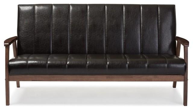 Scandinavian Style Faux Leather Sofa, Dark Brown