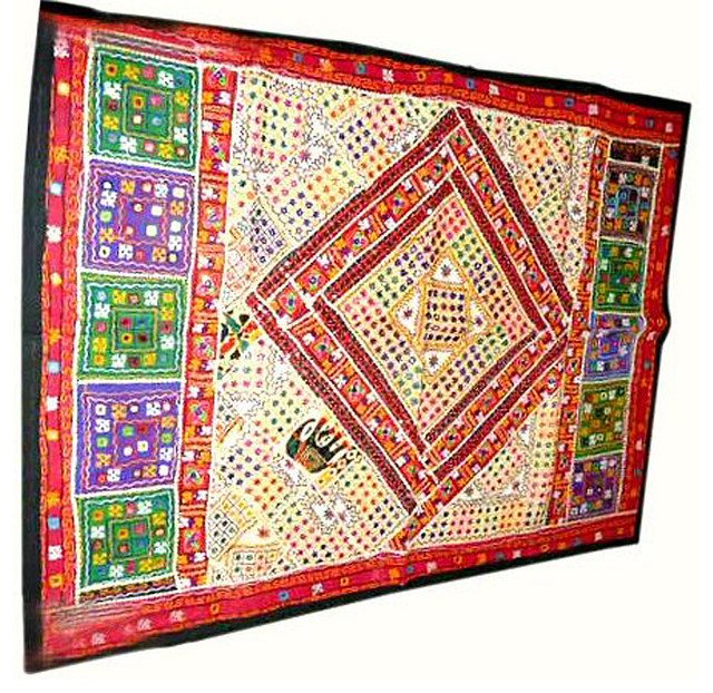 Sari Tapestry Mirror Embroidered Wall Hanging Asian