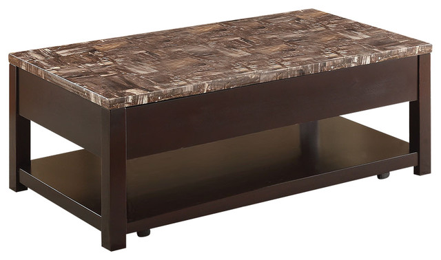 Dusty Coffee Table With Lift Top Faux Marble And Espresso Transitional Coffee Tables By