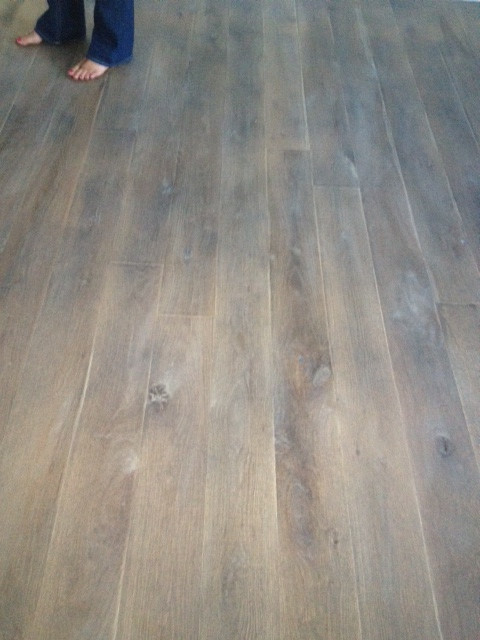 Fumed rustic white oak grey wood floor contemporary for Hardwood floors questions