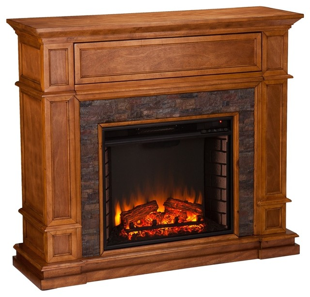 Hillcrest Faux Stone Electric Media Fireplace