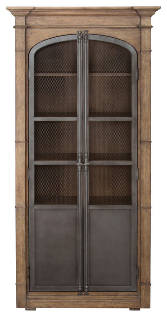 Metal Door Light Oak Display Cabinet.