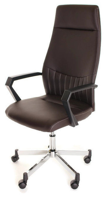 High Back Leather Task Chair Ergonomic Brown By TimeOffice Office Chairs