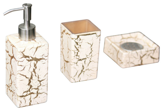 Kalahari soap dispenser set contemporary bathroom for Gold bathroom accessories sets