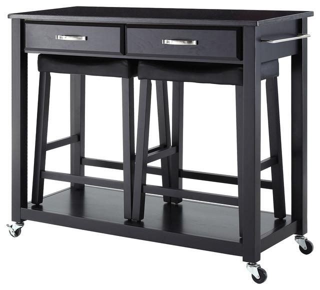 Solid Black Granite Top Kitchen Cart Black 24 Black Upholstered Saddle Stools Transitional