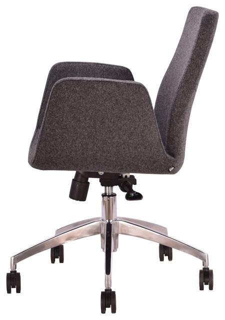 Claremont Office Chair, Dark Gray Wool.
