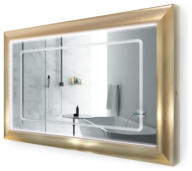 Swell Led Lighted Bathroom Frame Mirror With Defogger Gold 48X30 Download Free Architecture Designs Scobabritishbridgeorg
