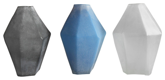 Mila 3 Piece Frosted Glass Vase Set Contemporary Vases By