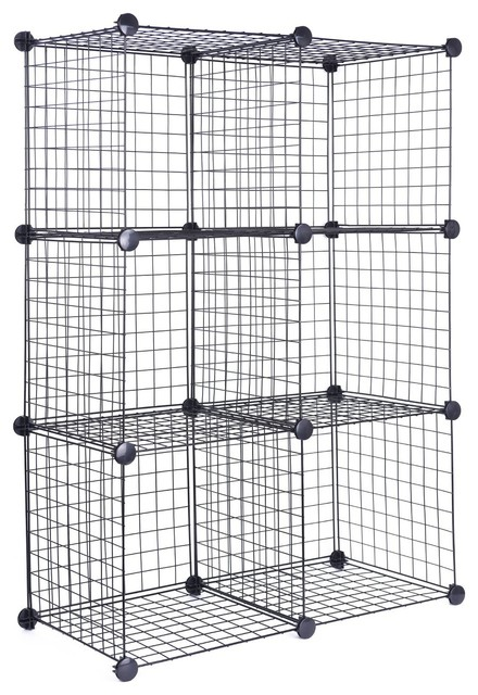 J.s. Hanger Black Wire Storage Cubes, Set Of 6, Clothes Organizer.
