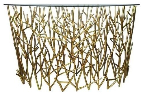 Italian Gold Iron Demi Lune Twig Console Table With Glass Top Console Tables