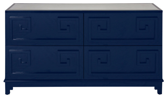 4-Drawer Dresser, Navy Lacquer.