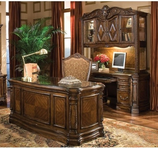Aico furniture windsor court office suite in vintage fruitwood 70207 54 set home office - Home office furniture salt lake city ...