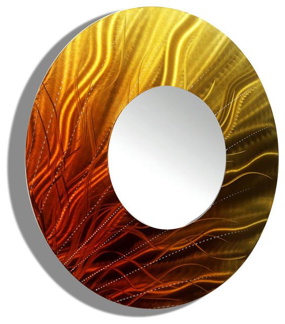 Gold/orange Metal Decorative Wall-Mounted Mirror, Standard.