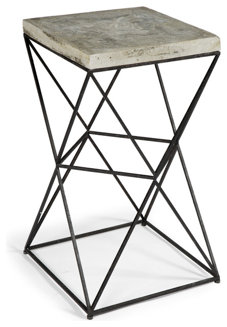 Paterson industrial loft metal concrete square end table - Table basse metal industriel loft ...