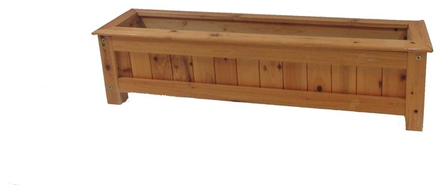 Cedar Wood Deck Rail Top Planter Box Contemporary Outdoor Pots