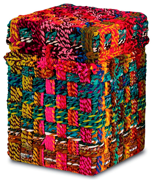 Kotani Chindi Rope Fabric Colorful Trunk Side Table, Small