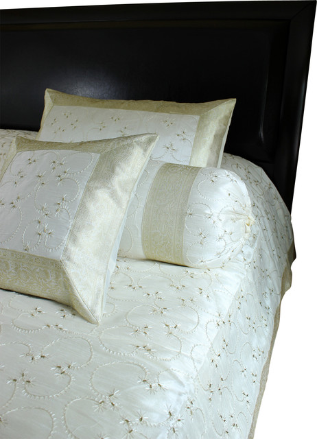 hand embroidered 7piece duvet cover set beige queen asianduvet