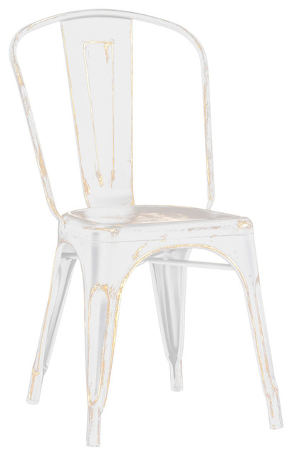 Nice Tolix Style Stackable Vintage Style Matte White/Gold Steel Side Chairs, Set
