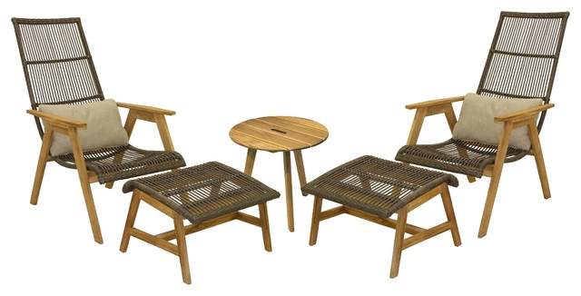 5-Piece Teak And Wicker Basket Lounger Set.