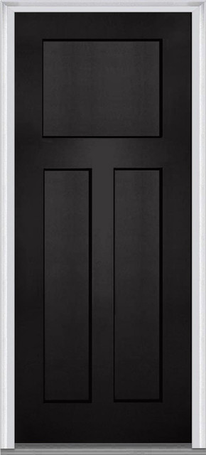 shaker front door3 Panel Shaker Fiberglass Black Front Door  Traditional  Front