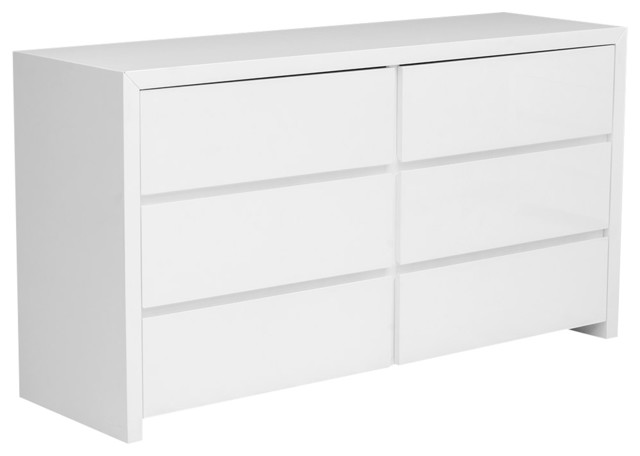 Bonita Modern White High Gloss 6 Drawer Dresser