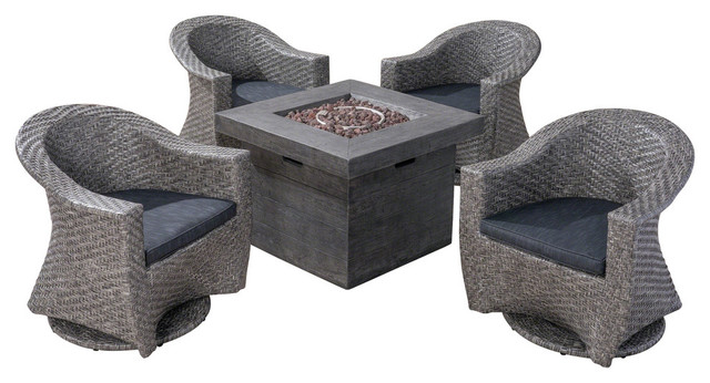 Pleasing Gdf Studio Philippa Outdoor 4 Seater Fire Pit Set With Wicker Swivel Chairs Cjindustries Chair Design For Home Cjindustriesco