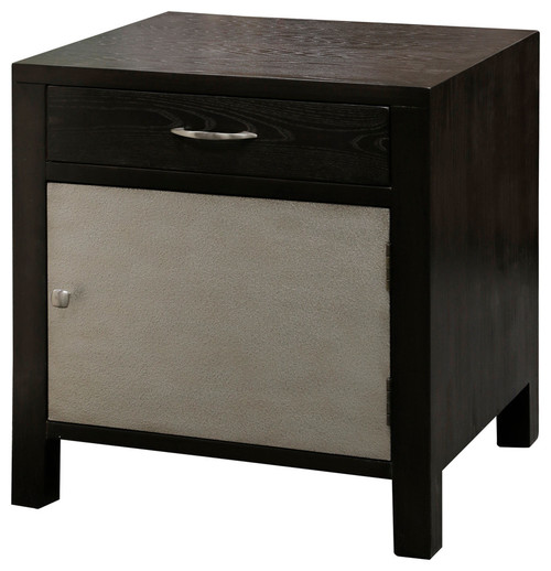 1 Door 1 Drawer Metal and Wood Side Chest, Brown Espresso, Metallic Silver