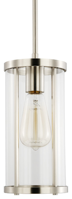 Zurich Satin Nickel And Clear Glass Pendant Light.
