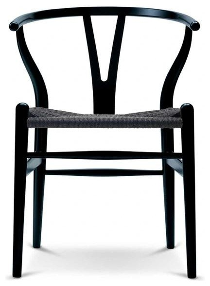 Designer Dining Chair Wood Wooden Woven With Open Y Back Armchair Chairs, Black