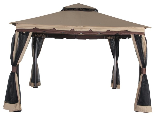 Garden Gazebo Outdoor With Mosquito Netting Patio Double Roof Vented, 130x130.