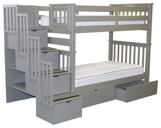 Bedz King Bunk Beds Twin Over Twin Stairway, 4 Step And 2 Bed Drawers, Gray.