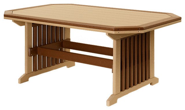Outdoor Poly Lumber Rectangle Mission Dining Table With Border
