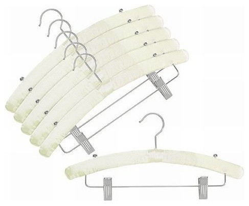 Satin Padded Hangers With Clips Ivory Set Of 6 Contemporary Clothes Hangers By Only Hangers