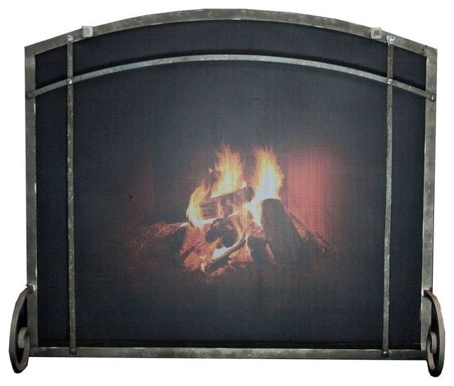 Hammered Fireplace Doors : Freestanding arched screen industrial fireplace