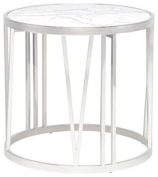 Roman White Marble Side Table, Brushed Gold   Contemporary   Side Tables  And End Tables   By Mod Space Furniture